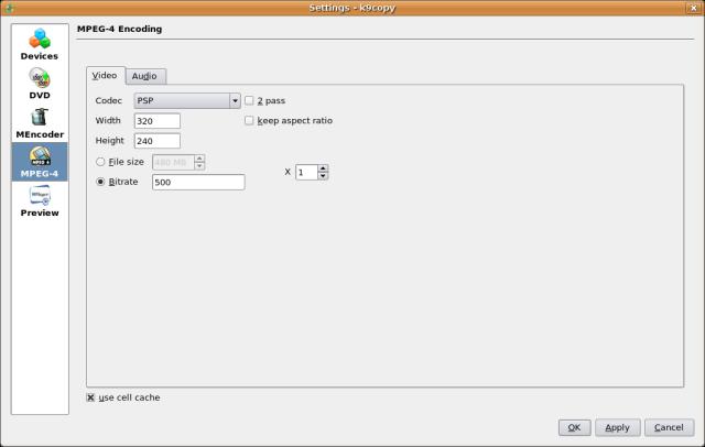 Screenshot 3 - Select video codec defaults