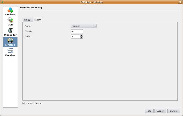 Screenshot 4 - Select audio codec defaults
