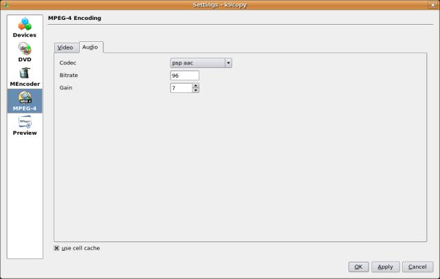 Screenshot 4 - Select audio codec defaults