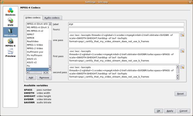 Screenshot 1 - Adding the PSP video codec