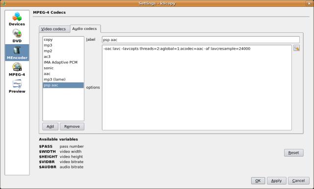 Screenshot 2 - Adding the PSP audio codec