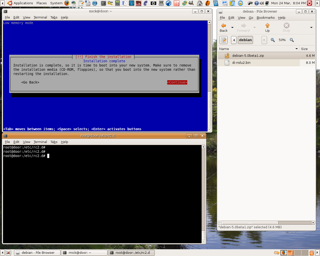 completed debian install