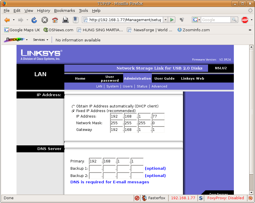 linksys network configuration