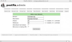 image of postfixadmin page
