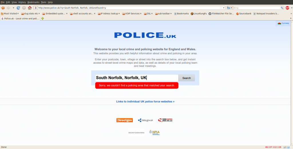 screenshot of www.police.uk website