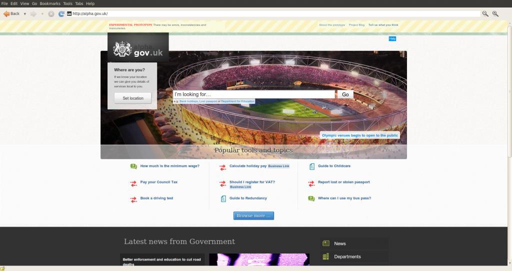 image of alpha.gov.uk webiste