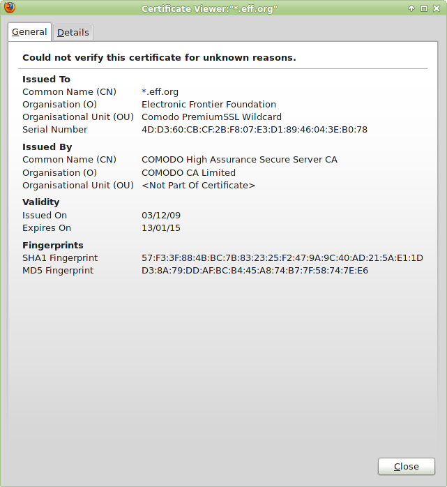 image of SSL certificate view