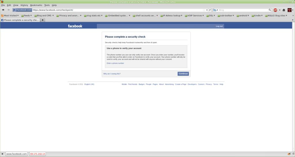 image of facebook login page