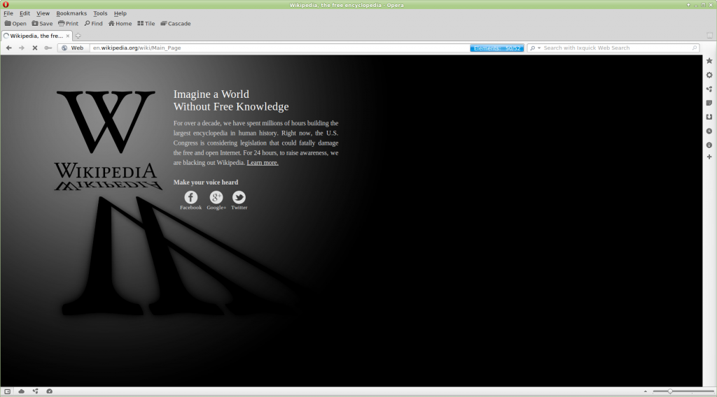 image of the wikipedia blackout page