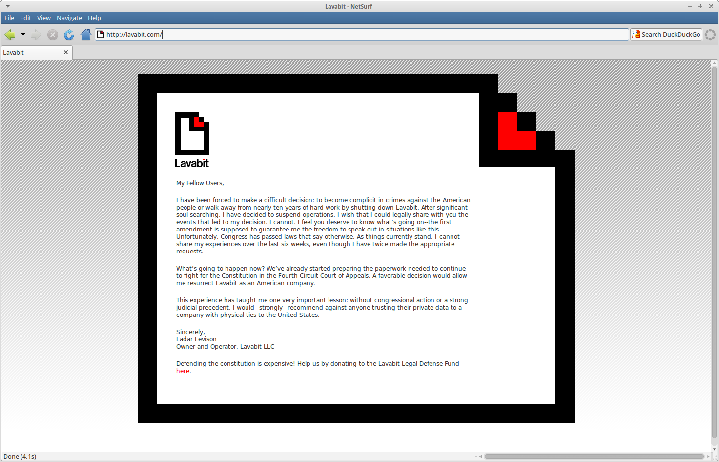 Levison says on the front (and now only) page of the Lavabit site: