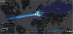 Map graphic of Tor network traffic around the world