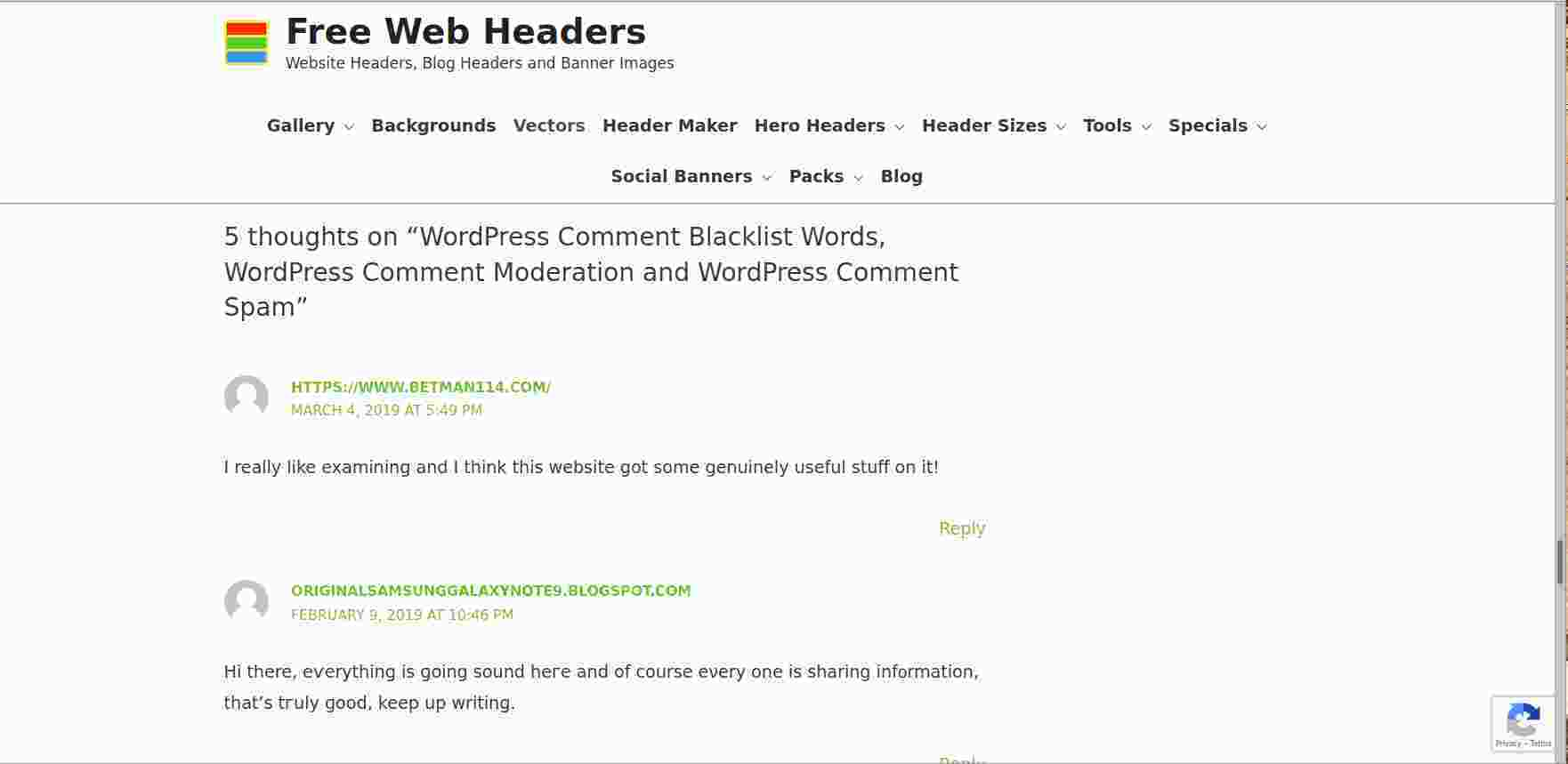 image of spam comment on blog